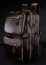 High Class 100% Real Genuine Leather Backpack Travel backpack School weekend Overnight Bag