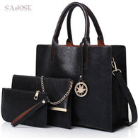 3 Pcs Set Leather Handbag Compound Tote Bags Shoulder Handbag Messenger Bag+Purse Sac
