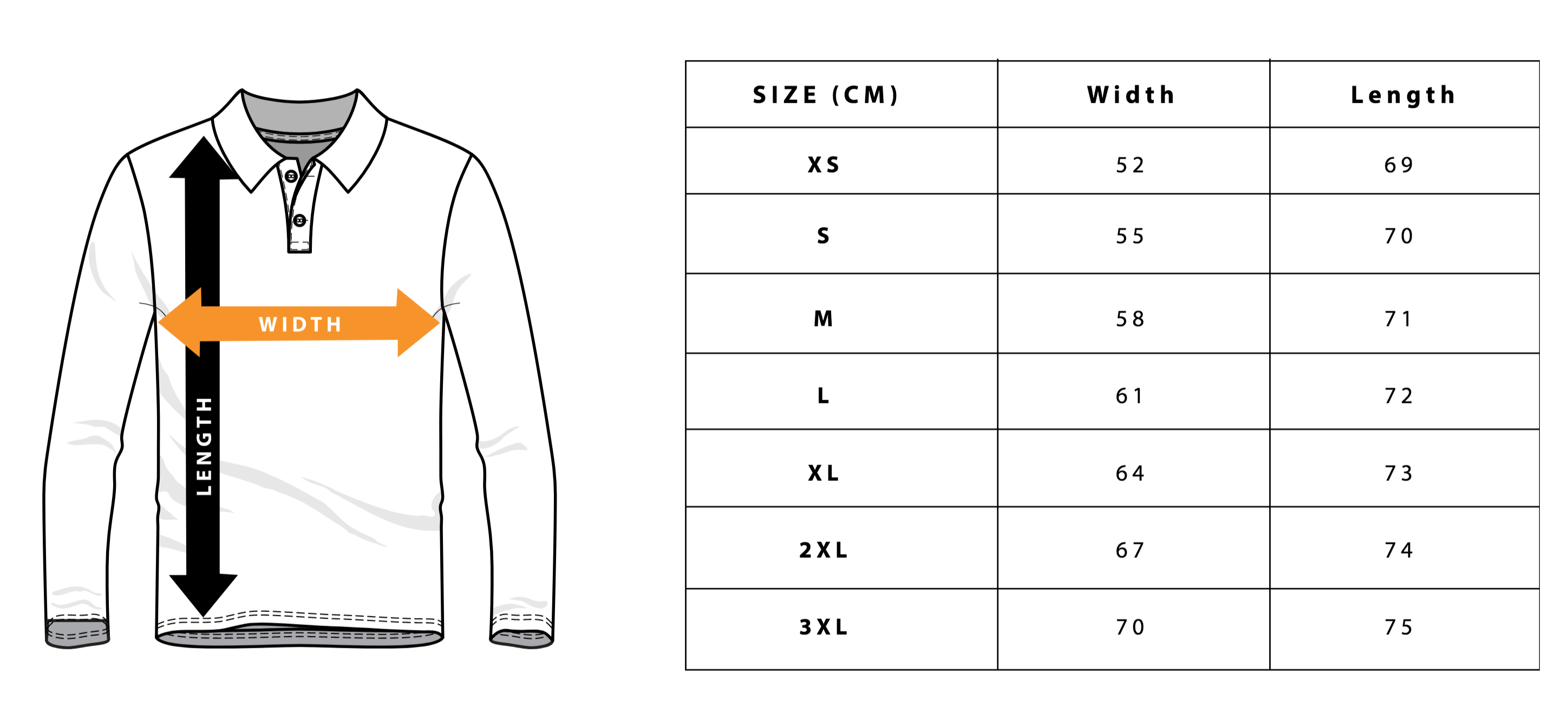 Fishing Jersey Sizing Chart