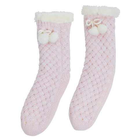 Annabel Trends / Chunky Knit Slipper Socks - Pink