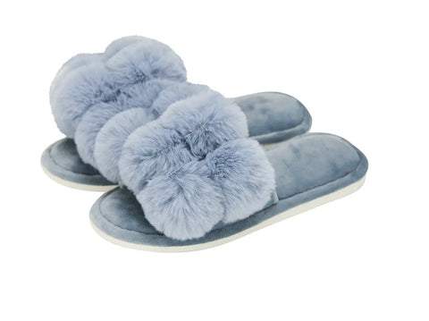 Annabel Trends / Cosy Luxe Pom Pom Slipper - Dusty Blue