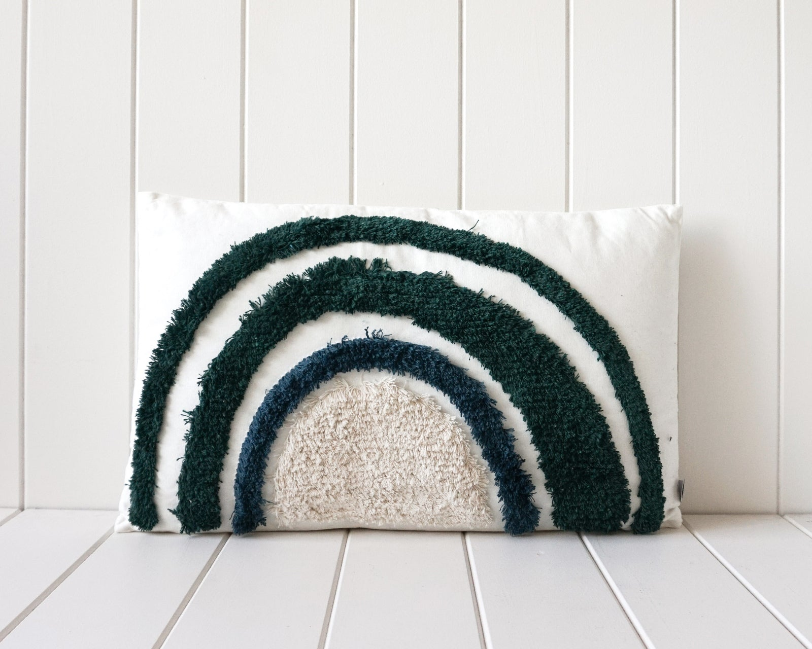 Rayell / Tufted Cushion - Blue/Green Rainbow