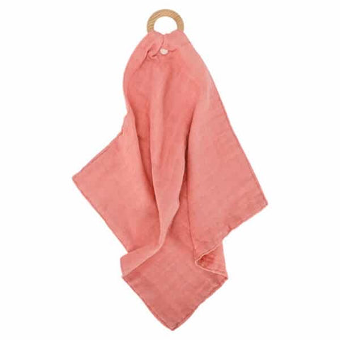 Annabel Trends / Muslin Security Blanket & Teether - Coral