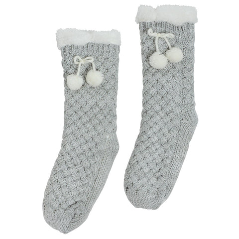 Annabel Trends / Chunky Knit Slipper Socks - Grey