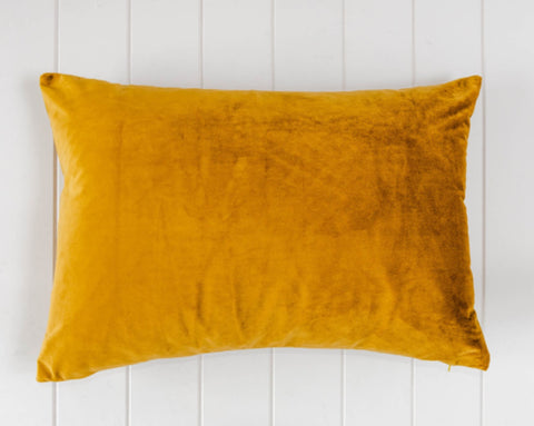 Rayell / Velvet Feather Cushion - Mustard (60x40cm)
