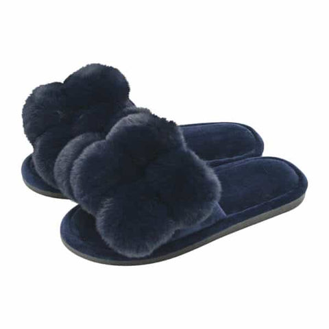 Annabel Trends / Cosy Luxe Pom Pom Slipper - Midnight