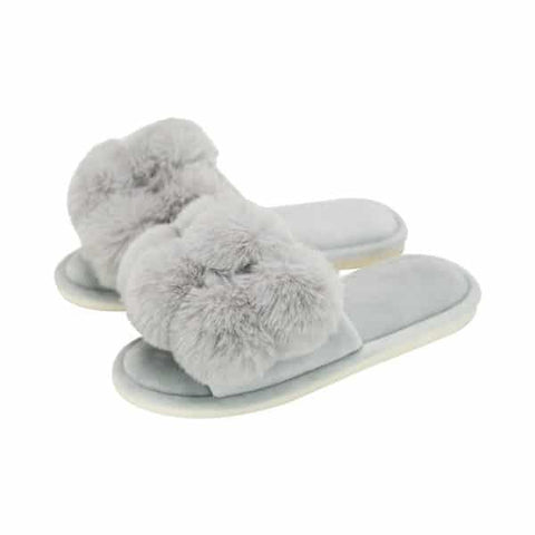 Annabel Trends / Cosy Luxe Pom Pom Slipper - Grey