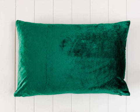 Rayell / Velvet Feather Cushion - Emerald Green (60x40cm)