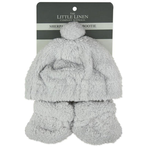 The Little Linen Co / Sherpa Beanie & Booties Set - Drizzle Grey