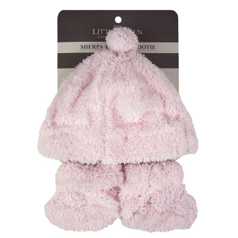 The Little Linen Co / Sherpa Beanie & Booties Set - Pastel Pink