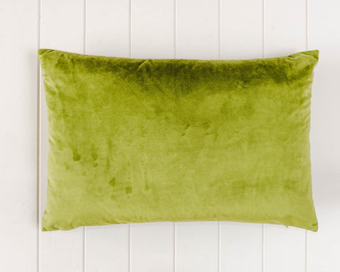 Rayell / Velvet Feather Cushion - Olive Green (60x40cm)