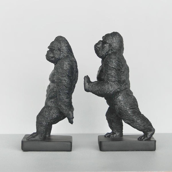 White Moose / Gorilla Bookends - Black