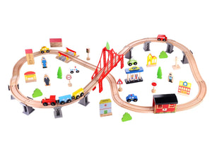 Tooky Toy / Wooden Train Set - 70pcs