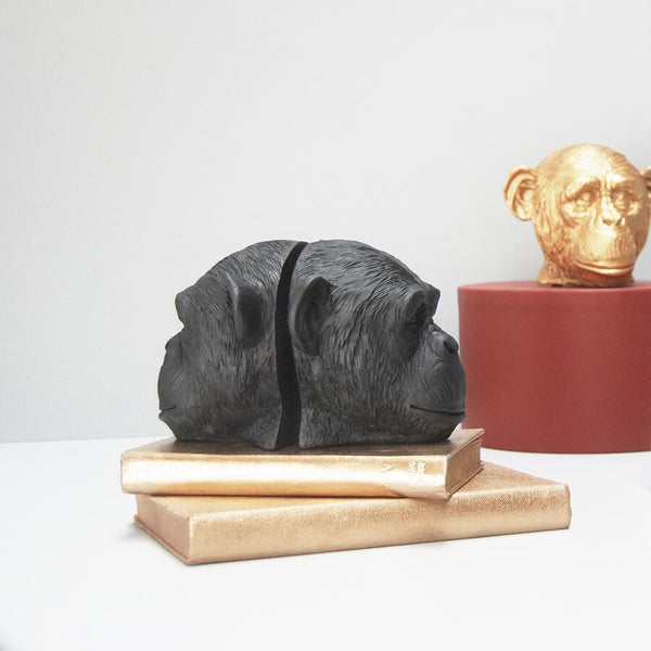 White Moose / Monkey Head Bookends - Black