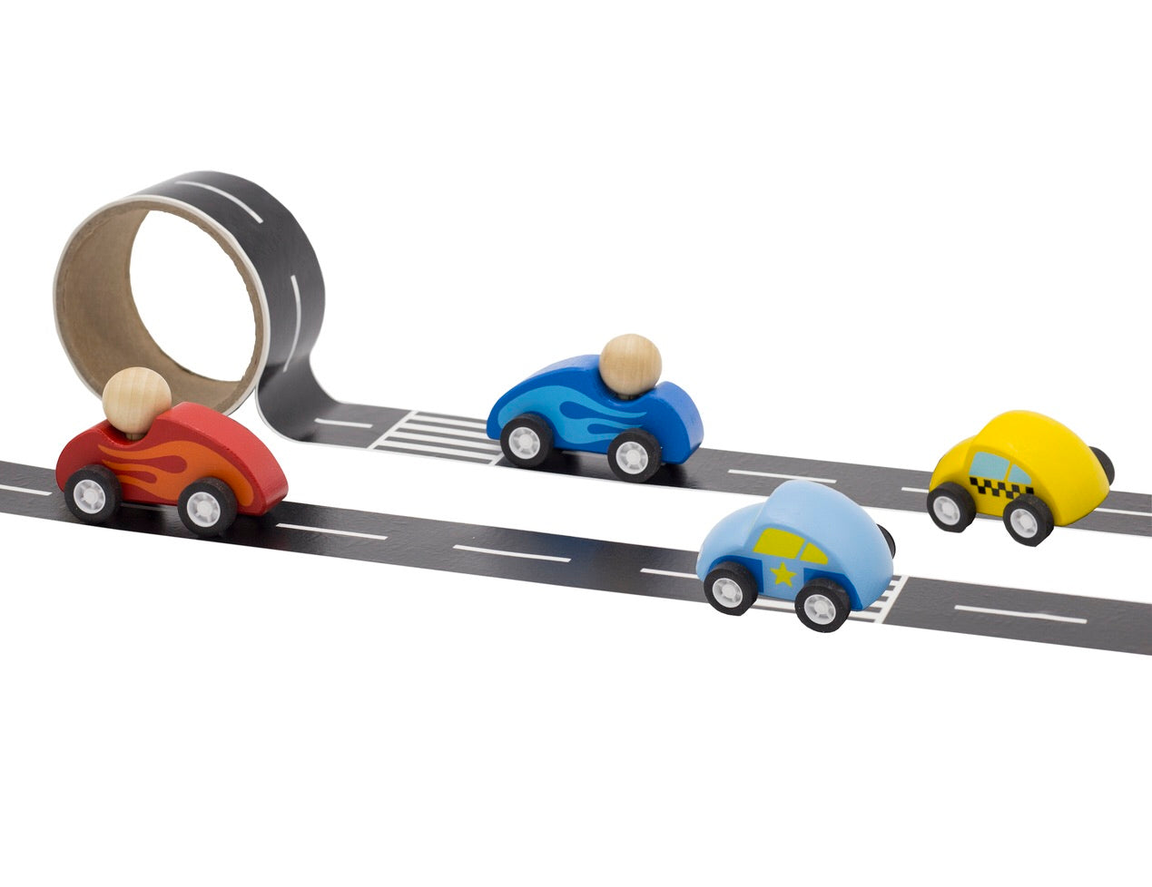 Tooky Toy / Wooden Car With Road Tape - Assorted*