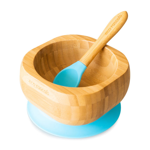 Eco Rascals / Organic Bamboo Super Suction Bowl & Spoon Set - Blue
