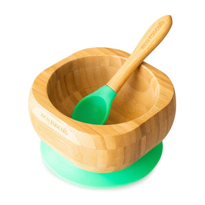 Eco Rascals / Organic Bamboo Super Suction Bowl & Spoon Set - Green