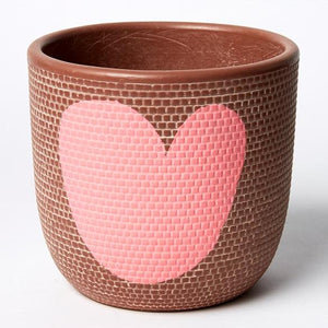 Jones & Co / Tweed Heart Pot (Med) - Pink