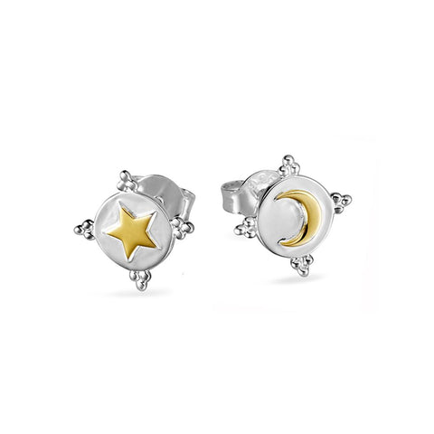 Midsummer Star / Astral Shield Studs - Silver & Gold
