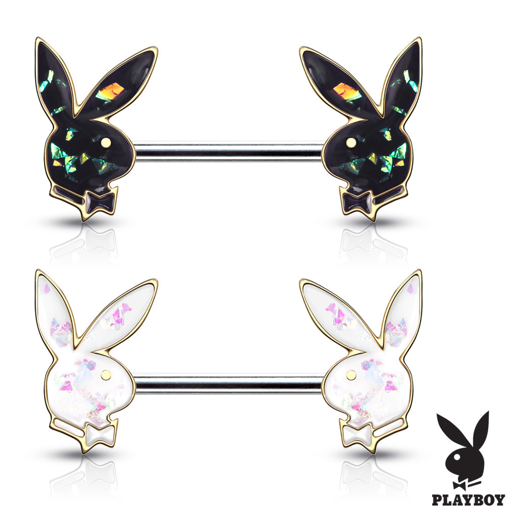 Opal Gleam Playboy Bunny Nipple Bar in Gold - Nipple Ring. Navel Rings Australia.