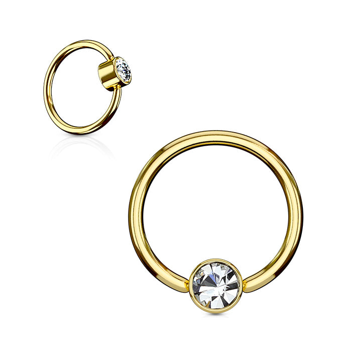 14K Gold Plated FLAT Gem Ball Captive Belly Ring - Captive Belly Ring. Navel Rings Australia.