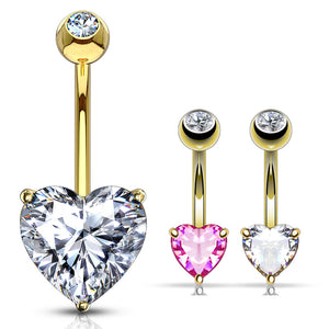 Classic Prong Heart Belly Ring in 14K Gold - Fixed (non-dangle) Belly Bar. Navel Rings Australia.