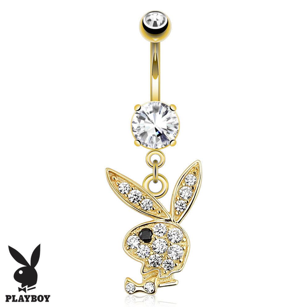 Official Playboy Dangly 14K Gold Belly Ring - Dangling Belly Ring. Navel Rings Australia.