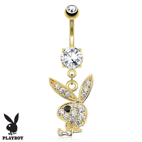 14K White Gold Razzle Dazzle Belly Ring