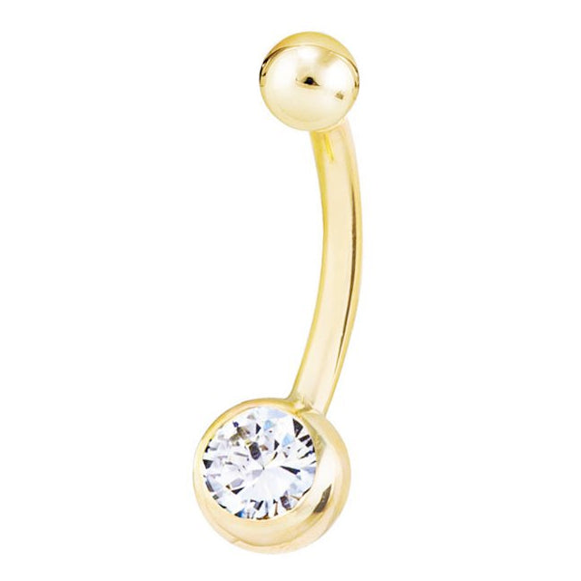 Classique 14K Gold REAL Diamond Belly Rings - Basic Curved Barbell. Navel Rings Australia.