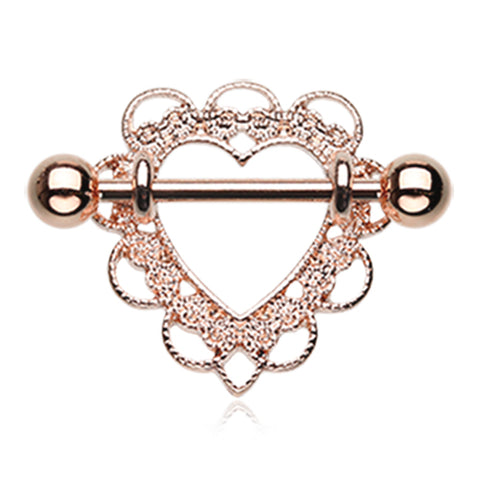 Nipple Ring. Buy Belly Rings. Rose Gold Heart Filigree Nipple Shield Ring