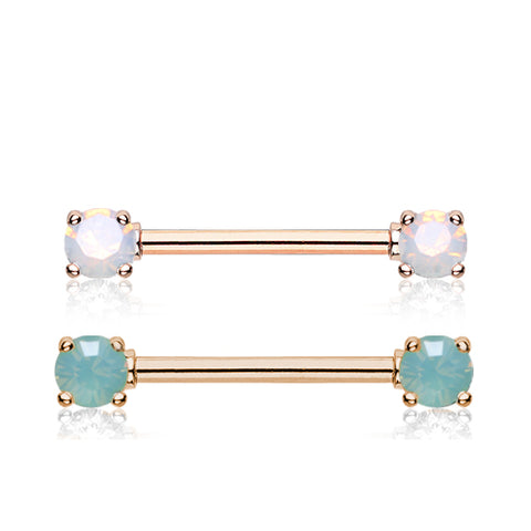 Nipple Ring. Cute Belly Rings. Opaline Nipple Barbell Ring in Rose Gold