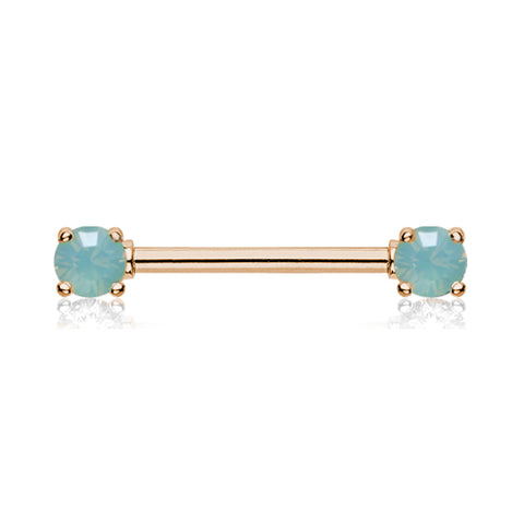 Opaline Nipple Barbell Ring in Rose Gold - Nipple Ring. Navel Rings Australia.
