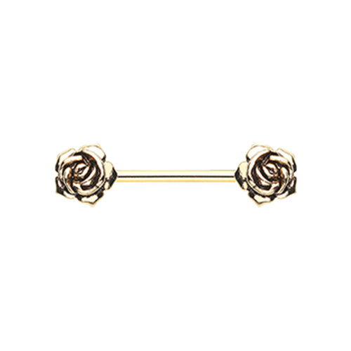 Golden Vintage Rose Flower Nipple Barbell Ring - Nipple Ring. Navel Rings Australia.