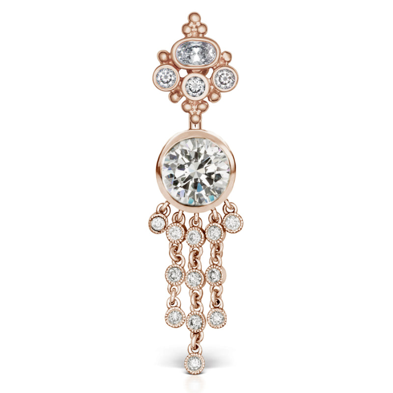 Authentic 14K Rose Gold Maria Tash Cubic Zirconia MT Crown with 12 Dangle - Dangling Belly Ring. Navel Rings Australia.