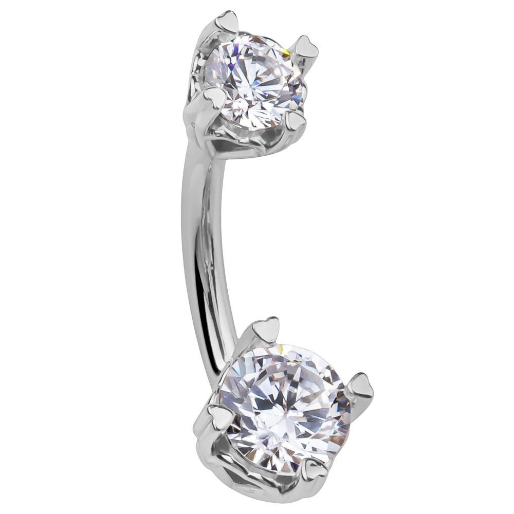 Secret Lover 14K White Gold Gem Belly Rings - Basic Curved Barbell. Navel Rings Australia.