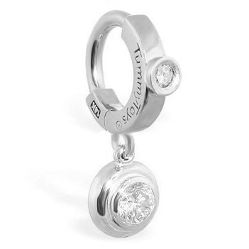 TummyToys® Patented Clasp. Quality Belly Bars. TummyToys® White Gold Cubic Zirconia Dangly Belly Ring