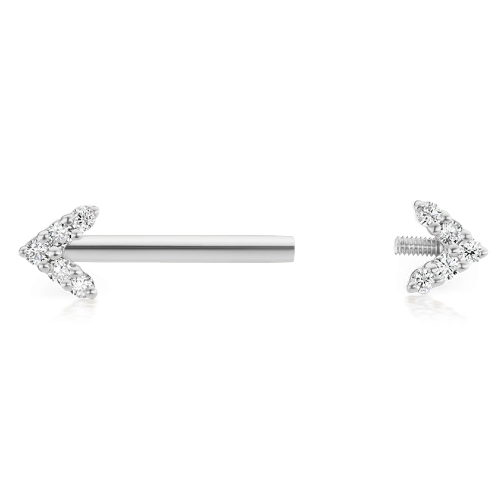 Nipple Ring. Navel Rings Australia. Maria Tash 4.5mm Genuine Diamond Arrow Nipple Bar in 14K White Gold