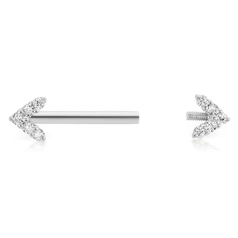 Maria Tash 4.5mm Genuine Diamond Arrow Nipple Bar in 14K White Gold - Nipple Ring. Navel Rings Australia.