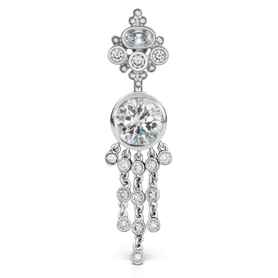 Authentic 14K White Gold Maria Tash Cubic Zirconia MT Crown with 12 Dangle - Dangling Belly Ring. Navel Rings Australia.