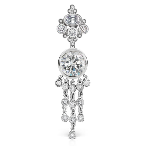 Dangling Belly Ring. Belly Bars Australia. Authentic 14K White Gold Maria Tash Cubic Zirconia MT Crown with 12 Dangle