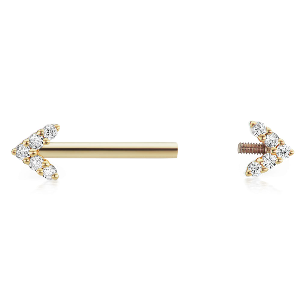 Nipple Ring. High End Belly Rings. Maria Tash 4.5mm Genuine Diamond Arrow Nipple Bar in 14K Gold