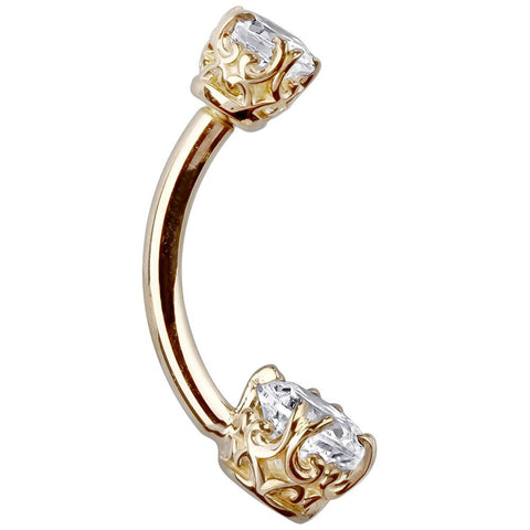 14K Yellow Gold CZ Heart Navel Bar