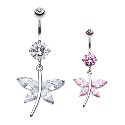 Crystal Wing Butterfly Navel Bar - Dangling Belly Ring. Navel Rings Australia.