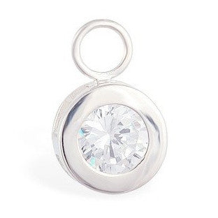 TummyToys® Bezel Set CZ Circle Swinger Charm - TummyToys® Swinger Charm. Navel Rings Australia.