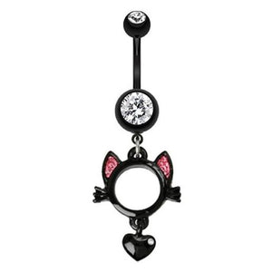 Meow Black Kitty Belly Bar - Dangling Belly Ring. Navel Rings Australia.