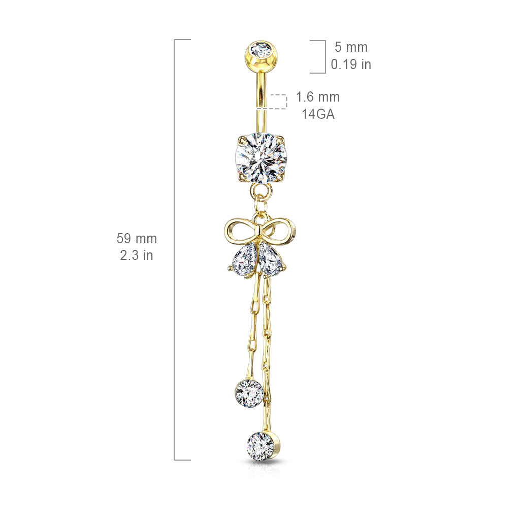 Dangling Belly Ring. High End Belly Rings. Ciảra Bow-Tie Belly Ring