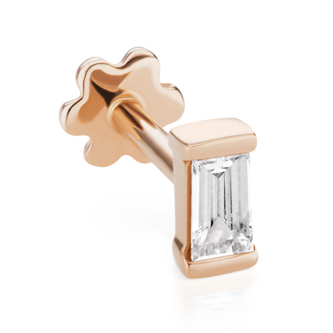 Diamond Baguette Threaded Stud Earring by Maria Tash in Rose Gold - Earring. Navel Rings Australia.