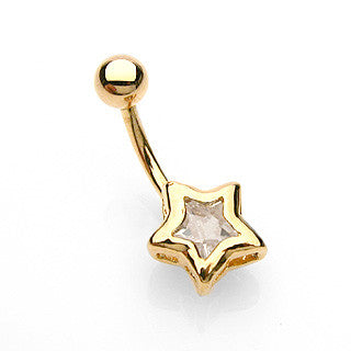 Golden Lucky Star Belly Bar - Fixed (non-dangle) Belly Bar. Navel Rings Australia.