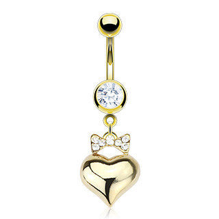 Ambrosio Heart Belly Ring Dangle - Dangling Belly Ring. Navel Rings Australia.