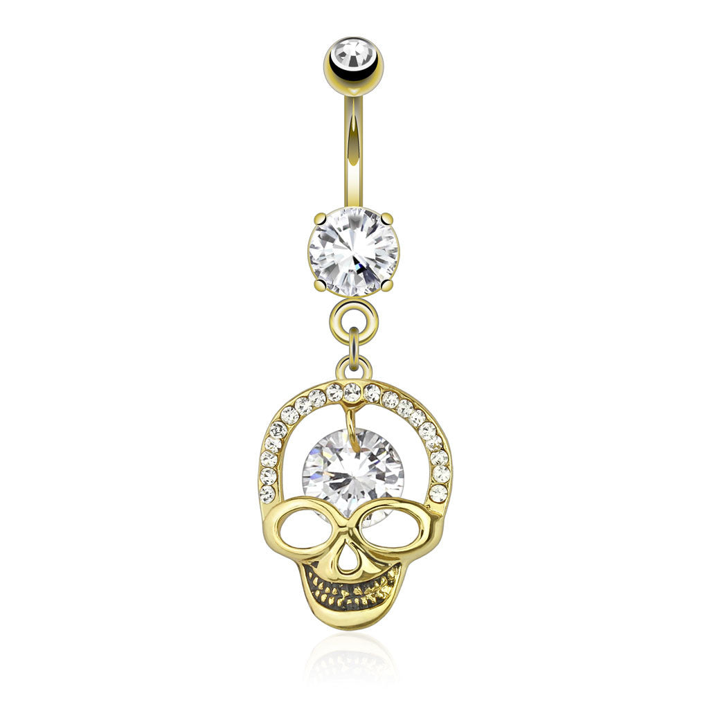 Kapala Smiling Skull Dangly Navel Ring - Dangling Belly Ring. Navel Rings Australia.
